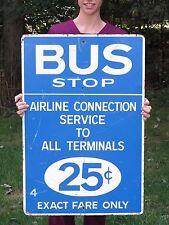 Vintage Chicago Illinois Porcelain Bus Stop Sign Airline Connection Service