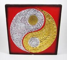 Tableau Ying Yang Rouge/Noir et Or / Argent - 30X30 - TB021