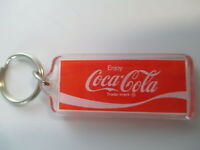 Coca-Cola Square Clear Acrylic Rectangle Red Enjoy Coca-Cola Keychain