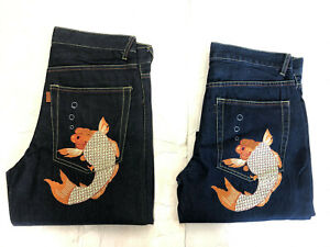 New HEIFETGENS EVISU Men's Embroidered DOUBLE KOI *BLUE DENIM Shorts SZ: 32-44