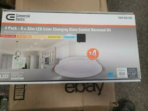 """COMMERCIAL ELECTRIC 4 PACK 6"""" SLIM LED Recessed Kit  1004 655 280  Quick Ship!!"""
