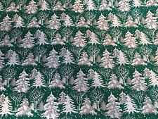 Vtg Christmas Store Wrapping Paper Gift Wrap 2 Yards Silver Trees Winter Scene
