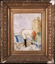 19th CENTURY SIGNED FRENCH IMPRESSIONIST OIL CANVAS - NUDE BATHER - LAUTREC