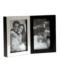 "Double Silver and Black Photo Picture Frame Holds Two 4x6"" Photos"