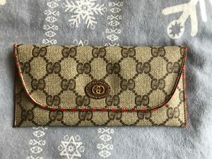 Gucci Vintage Canvas and Brown Leather Eyeglass Case