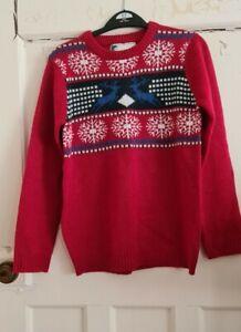Boys 11-12 Years Red Fair Isle Christmas Jumper Star Clothing