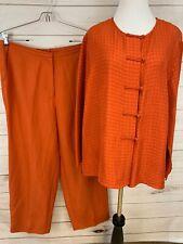 EILEEN FISHER 3 Piece Burnt Orange Asian Top Tank Pants Silk Linen Size L, M
