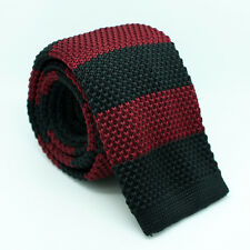 Amarillo Rosado Azul Blanco y negro rojo tejido Delgada De Punto Tela Corbata