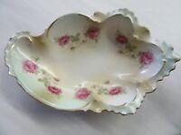 Beautiful Antique MZ Austria porcelain bowl with Green w Roses Gold Gilt