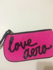"AEROPOSTALE PINK ZIPPERED MAKE UP BAG OR CLUTCH BLACK SEQUINS "" Love Aero"""