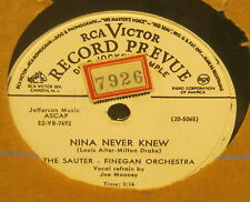 Nina Never Knew THE SAUTER-FINEGAN ORCHESTRA Flexible 78 Phonograph Record