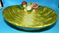 TROMPE L'OEIL Italian MAJOLICA SIGNED Large Cabbage Vegetable SERVING BOWL