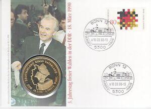 Timbre Numismatique Allemagne 5. Anniversaire Gratuit Élections dans La DDR 1993