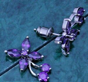 Cherry Amethyst Flower Silver Stud Earrings