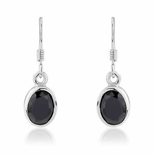 Ladies Black CZ Oval Sterling Silver Earrings