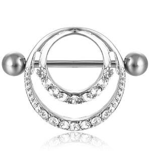 0599 Clear Nipple Rings  Piercing Body Jewelry  14Gd Heart Items