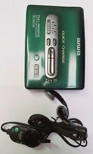 Rare Green Aiwa PX547 Walkman Multi-Sound Processor+ Remote control Working Mint