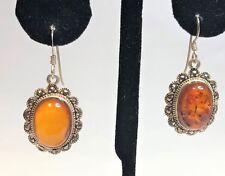Gemstone Sterling Silver Marcasite Honey Amber Art Deco 20s Style Drop Dangle Earrings Bn Fine Jewelry
