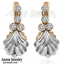 14k Solid Rose and White Gold Diamond Russian Style Earrings F VS-2 $969.00