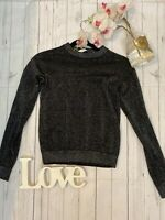 & Other Stories XS 6 8 black sparkly hight neck fitted jumper long sleeve y2k
