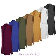 Ladies Womens Celeb Inspired Crepe Sleeveless Long Waistcoat Jacket Blazer
