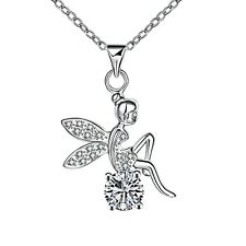 Bling Cute Tinkerbell Chains Girls Jewelry Fairy Angel Crystal Wings Necklace