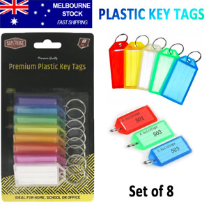 8x Plastic Key Tags With Split Ring ID Labels Keys Identifier Bag Travel Luggage