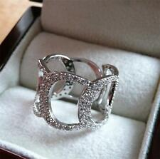 SPARKLING CUBIC ZIRCONIA 925 STERLING SILVER OPEN BAND RING SIZE Q 8.5 ADJ