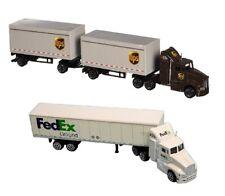 Daron 1/87 scale Die-cast UPS & FedEx Ground Tractor Trailers Toy Gift Set NEW