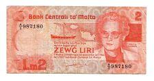 Malta  2 lire pounds 1967 1986    BB  VF      Pick 37     rif 49