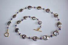 Necklace Freshwater KESHI PEARLS and TANZANITE 24K Gold Vermeil over 925 Silver