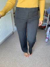 LAURA ASHLEY SMART GREY TROUSERS STRAIGHT LEG 10 High Waist Office Party Button