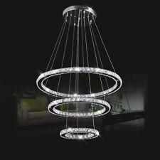Modern 3 LED Rings Circle Crystal Chandelier Pendant Light Ceiling Lamp Lighting