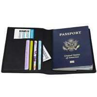 Thin Leather RFID Blocking Passport Travel Wallet Holder ID Cards Cover Case