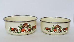 Vintage Mushroom Enamel Nesting Bowl Set - 70's Retro- Orange Brown - Metal
