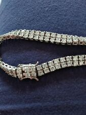 White Gold Plated Lab Simulated Diamond  Silver Mens Tennis Chain Bracelet