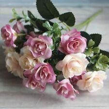 15-Silk Flowers Vintage Wedding Artificial Pink & Cream Rose Posy Bouquet Bunch