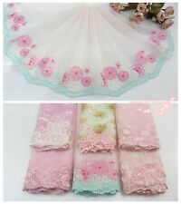 LOT~6Y~Assorted Embroidered Tulle Lace Trim~Pink/White~Princess Series 01~