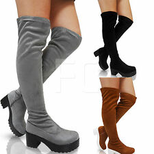NEW WOMENS THIGH LOW MID CHUNKY CLEATED BLOCK HEEL STRETCH OVER KNEE BOOTS SIZE