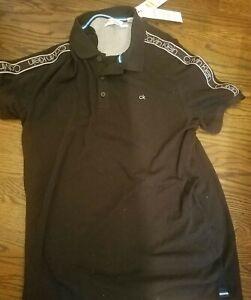 CALVIN KLEIN Mens Black Supima Cotton Logo Spell Out Polo Shirt Size Medium