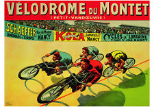 VINTAGE CYCLING BICYCLE POSTER: VELODROME DU MONT - Auzolle Bike Cycle Art Print