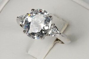 New Avon CLEAR OVAL CZ Silver Gorgeous Cocktail RING - Sz 5 6 7 8 9 10 11