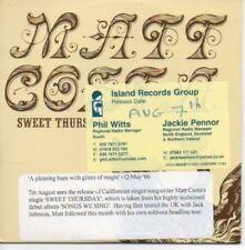(AH206) Matt Costa, Sweet Thursday - DJ CD