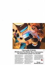 PUBLICITE ADVERTISING  1984   TEXAS INSTRUMENTS  ordinateur TI 99/4 A