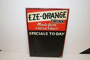 "Vintage 1950's Eze-Orange Specials To-Day Soda Pop 19"" Embossed Metal Sign"