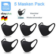 5 Mundmasken waschbar Nase-Mund Gesichtsmaske Stoffmaske Behelfsmaske Atemmaske