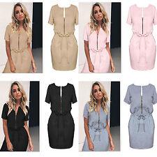 Womens Summer Casual Zipper Short Sleeve Evening Party Beach Short Mini Dress E
