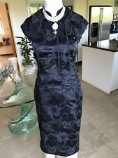 KAREN MILLEN Jacquard Oriental Corset Bodycon Pencil Dress, UK 8 EU36 ~ Stunning