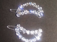 A pair of half moon diamante diamonte crystal sparkling hair clips accessories