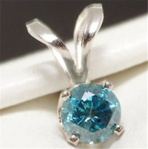 Natural Blue Diamond Solitaire Solid 14K White Gold Pendant Necklace Wedding